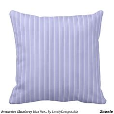 Attractive Chambray Blue Vertical Stripe Pattern Throw Pillow