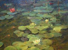 "Lily Pond by Simon Addyman Oil ~ 30"" x 40"""