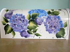Items similar to Hand Painted Mailbox with Blue & Purple Hydrangea on White on Etsy One Stroke Painting, Painting Videos, Tole Painting, Painting On Wood, Acrylic Paintings, Painted Mailboxes, Painted Boxes, Hand Painted, Beautiful Paintings