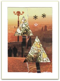 paper collage notecard (blank inside) TREES OF GLASS by MaterialWhirlCollage, $5.00