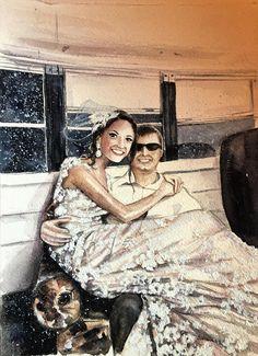 Wedding PortraitCouple portrait1st Anniversary Personalized