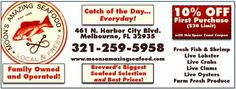 Get The Catch Of The Day, EVERY DAY! & 10% OFF Brevard's Biggest Seafood Selection. Moon's Amazing Seafood Melbourne FL  http://spacecoastcouponsofbrevard.com/coupons/moons-amazing-seafood