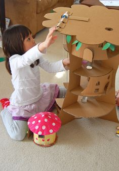 Cardboard tree house - perfect for our fairy friends to play in :)