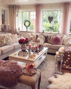 28 Cozy Living Room Decor Ideas To Copy. Recreate this white and pink cozy living room decor Here are 28 cozy living room decor ideas and everything you need to recreate these cozy living room vibes in your apartment. Living Room Decor On A Budget, Glam Living Room, Cozy Living Rooms, Living Room Interior, Apartment Living, Home And Living, Living Room Designs, Small Living, Modern Living