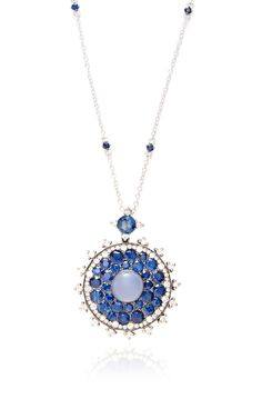 Large Blue And White Bull's Eye Pendant by Nam Cho for Preorder on Moda Operandi