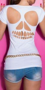 t-shirt z czaszkami i wyciętymi plecami Heels, T Shirt, Tops, Fashion, Moda, Tee, Shoes Heels, Fasion, Heel