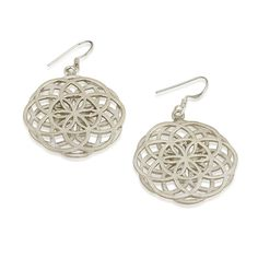 Double Seed of Life Earrings Sterling Silver 925 Size 1.2 Sacred Geometry Flower #MAGAYA #Hook