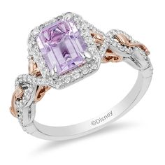 Enchanted Disney Rapunzel Rose de France Amethyst and CT. Diamond Frame Engagement Ring in Two-Tone Gold Classic Engagement Rings, Rose Gold Engagement, Platinum Engagement Rings, Engagement Ring Settings, Disney Engagement Rings, Disney Wedding Rings, Disney Weddings, Ring Engagement, Enchanted Disney Fine Jewelry