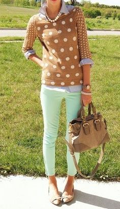 buy:   mint jeans, camel bag, polka dot sweater, pearls
