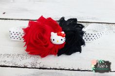 Red & Black KITTY Shabby Flower Baby Toddler by RoosShabbyBoutique