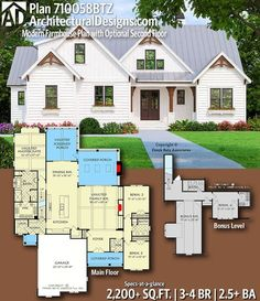 Modern Farmhouse Plan with Optional Second Floor Architectural Designs Farmhouse Plan gives you bedrooms, baths and sq. Ready when you are! Where do YOU want to build?Architectural Designs Farmhouse Plan gives you bedrooms, baths and 2 New House Plans, Dream House Plans, My Dream Home, Dream Houses, 2200 Sq Ft House Plans, Home Plans, 3 Bedroom Home Floor Plans, Dream Mansion, The Plan