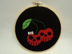 Cherry Skulls Embroidery Hoop Wall Art