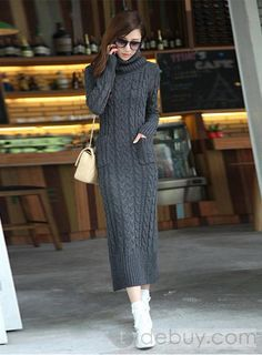 Stylish Turtle Neck Twist Design Solid Color Jag Pockets Long Sleeves Slimming Sweater Dress For Women Cable Knit Sweater Dress, Sweater Dress Outfit, Cable Knit Sweaters, Long Sweaters, Knit Dress, Sweaters For Women, Sweater Dresses, Sweater Coats, Mode Outfits