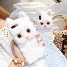 White Cat Plush Fur iPhone Case - White / iPhone XS Max