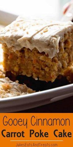 Gooey Cinnamon Carrot Poke Cake + VIDEO - Julie's Eats & Treats