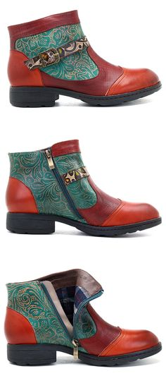 US$58.86 SOCOFY Sooo Comfy Retro Zipper Splicing Ankle Leather Boots