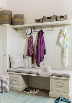 Mud Room. Mud room Bench Storage Ideas.  Mud room with built-in bench and cabinet. #MudRoom  Anita Clark Design.