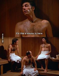 """Cosmo Kramer - """"It's like a sauna in here."""" - from TV series Seinfeld Baguio, South Park, Funny Videos, Memes Humor, Funny Jokes, That's Hilarious, Tv Quotes, Movie Quotes, Laugh Out Loud"""