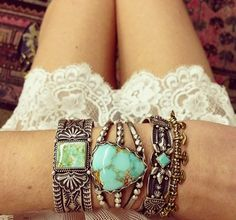Boho tribal jewelry ~ sterling silver & turquoise. CLICK to follow the latest BOHO Chic Fashion Trends http://www.pinterest.com/happygolicky/boho-chic-fashion-bohemian-jewelry-boho-wrap-brace/