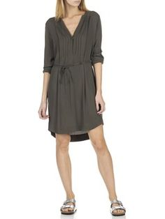 Short belted low-cut dress Khaki by STELLA FOREST