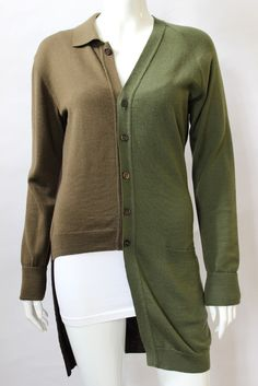 Moschino Cheap & Chic Olive Brown Asymmetrical Cardigan Sweater