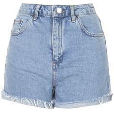 TOPSHOP MOTO Bleach Girlfriend Shorts featuring polyvore, fashion, clothing, shorts, bottoms, pants, denim, blue, topshop shorts, highwaisted shorts, blue high waisted shorts, topshop and highwaist shorts