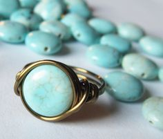 love turquoise... I need turquoise rings in every size imaginable.