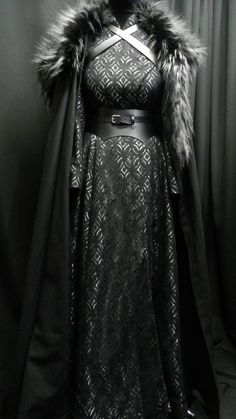 Game Of Thrones Inspired by Sansa Stark black silver dress, leather belt, cloak and shoulder's fur custom made to your size!- Game Of Thrones Inspired by Sansa Stark black silver dress Black And Silver Dress, Black Silver, Black Satin, Black Belt, Black Laces, Silver Gown, Dress Black, Silver Ring, Game Of Thrones Dress