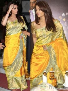 aishwarya rai bachchan-french award announcement-yellow silk sari-1