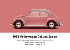 VW Beetle 1956 oval window deluxe sedan