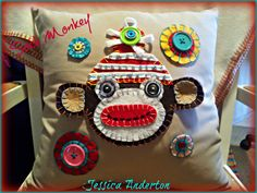 Felt Sock Monkey Pillow
