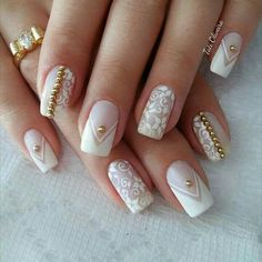 50 Top Best Wedding Nail Art Designs To Get Inspired Fancy Nail Art, Fancy Nails, Pretty Nails, Classy Nails, Simple Nails, Cute Acrylic Nails, Gel Nails, Work Nails, Wedding Nails Design