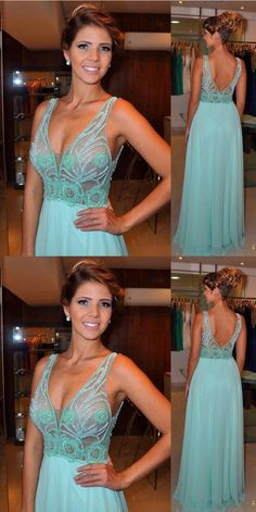 V-Neck Real Made Beading Charming Prom Dresses,Long Evening Dresses,Prom Dresses On Sale, S204 - 305