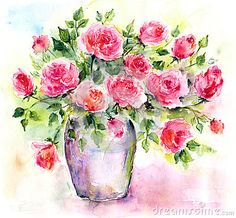 Roses. Watercolor floral bouquet. Birthday card.