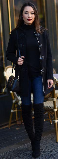 Maison Jules Toggle Coat, Turtleneck, Denim, Ivanka Trump Boots