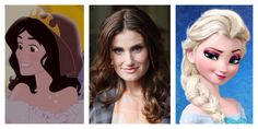Idina Menzel next to both of her Disney animated characters. (Too many people forget about her role in Enchanted)