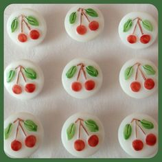 4 Cherry Buttons - Handmade - Czech Glass - Sewing and Crafting - Rockabilly - White with Red Cherries - Retro