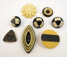 art deco buttons black cream casein