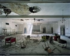 """Yves Marchand and Romain Meffre: """"Ballroom, Fort Wayne Hotel"""" from their series """"The Ruins of Detroit"""" Source: http://www.marchandmeffre.com/detroit/index.html"""