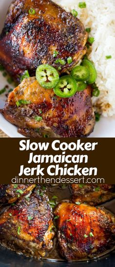 Slow Cooker Jerk Chicken is part of Slow Cooker Jerk Chicken Dinner Then Dessert - Slow Cooker Jerk Chicken is a quick recipe with fantastic authentic Jamaican flavors of peppers, onions, allspice and cloves and with no mess to clean up Crock Pot Recipes, Quick Recipes, Cooking Recipes, Crock Pots, Health Slow Cooker Recipes, Dutch Oven Recipes, Slow Cooker Desserts, Healthy Recipes, Slow Cooker Jerk Chicken