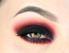 Red & black smokey eye - Eyeshadow 53 gives you the right red pigment for Halloween.