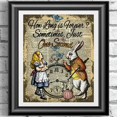 Art print on antique dictionary book page Alice in wonderland and white rabbit