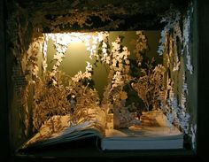 Book sculpture created by Sue Blackwell.