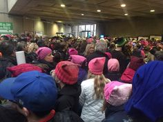 Women's March on Washington 1/21/17. Train station is packed.
