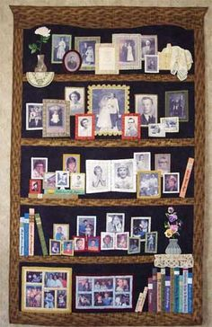 """""""Our Whole Life"""" quilt by Susan Stewart; 5 generations of her family photos transferred to fabric for a """"bookcase"""" style quilt; click through for other views of this marvelous quilt."""