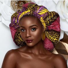 Inspired by the Afrocentric Heritage, the ankara silk bonnets have been crafted with the finest quality of ankara and silk Fabric to keep you super stylish and Silk Bonnet, Hair Bonnet, African Beauty, African Fashion, African Head Wraps, Natural Hair Styles, Long Hair Styles, Bad Hair Day, Beautiful Black Women