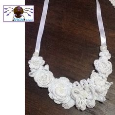 Crochet and glass beads necklace, hand made, exclusive design.