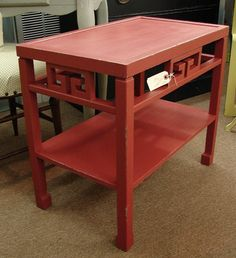 Vintage Red Paint Distressed Oriental Style Accent Side Table Beautiful SALE. $79.00, via Etsy.