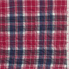 "Red, Dark Blue, Black & WhiteHerringbone Plaid Crinkled Shirting FabricSuitable for Blouses100% Cotton55"" wideMachine WashableUsually $10.00/yd"