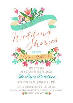 Folk Floral Fairytale Bridal / Wedding Shower Fiesta Invitation - design could be used for Bridal or Baby Shower, or Wedding Invitations too!